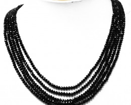 Black Spinel Faceted Round Beads Necklace