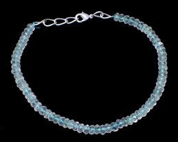 Genuine 37.00 Cts Aquamarine Faceted Beads Necklace