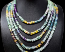 Multicolor Fluorite Beads 5 Strands Necklace