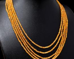 Orange Citrine Faceted Beads Necklace