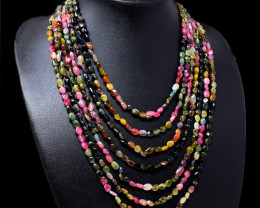 Watermelon Touramline Beads 7 Strand Necklace