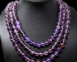Purple Amethyst Round Beads 3 Lines Necklace