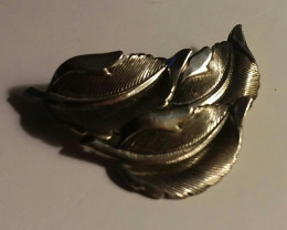 ANTIQUE LEAF BROOCH / PIN - STERLING SILVER 925 - BEAU