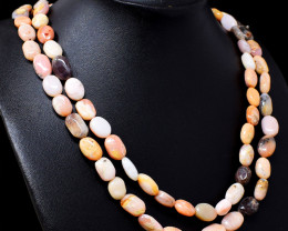 Pink Australian Opal Oval Shape Beads Necklace