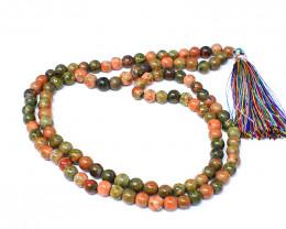Blood Green Unakite 108 Beads Prayer Mala