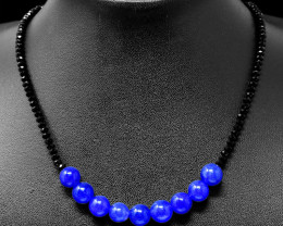 Blue Onyx & Spinel Faceted Beads Necklace