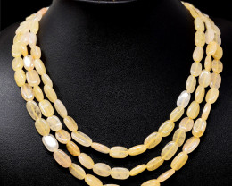 Yellow Aventurine Beads 3 Strands Necklace