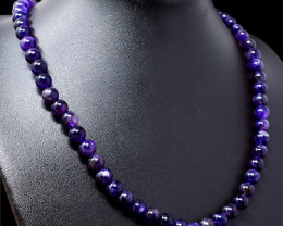 Genuine 220.00 Cts Purple Amethyst Beads Necklace