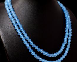 Blue Aquamarine Beads 2 Lines Necklace
