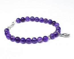 Purple Amethyst Beads Charm Bracelet