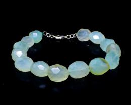 Green Chalcedony Faceted Beads Bracelet
