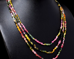 Watermelon Tourmaline Beads Necklace