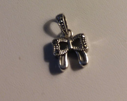 CHILDRENS JEWELRY STERLING SILVER BOW PENDANT SS925