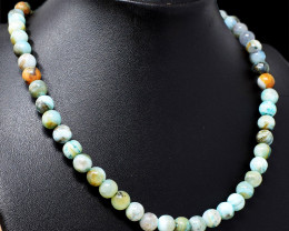Blue Peruvian Opal Beads Necklace