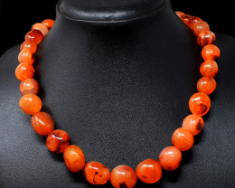 Orange Carnelian Beads 20 Inches Long Necklace