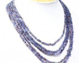 Blue Iolite Round Beads 5 Strands Necklace