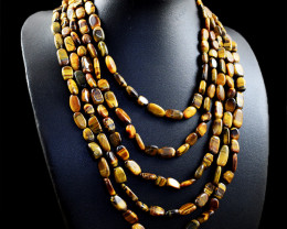 Genuine 590.00 Cts Tiger Eye Beads Necklace