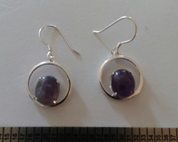 AMETHYST / STERLING SILVER 925 EARRINGS HAND CRAFTED