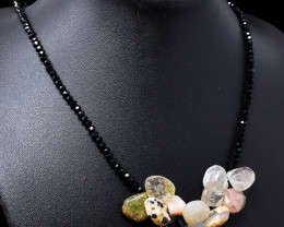 Black Spinel & Mix Gem Beads Necklace