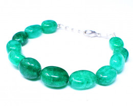 Green Jade Oval Shape Beads Bracelet