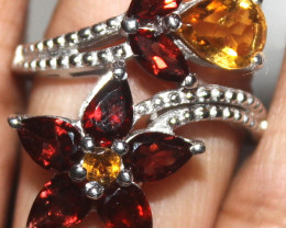 Natural Citrine & Red Garnet 925 Sterling Silver Ring Size (US 8) 108