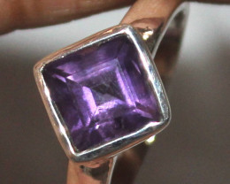 Natural Amethyst 925 Sterling Silver Ring Size (US 8.5) 97