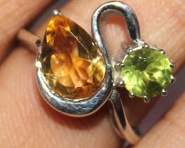 Natural Citrine & Peridot 925 Sterling Silver Ring Size (US 6) 105