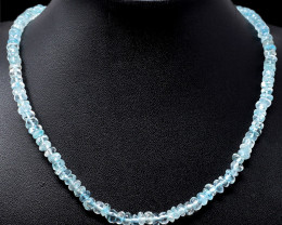 Blue Aquamarine Beads Single Strand Necklace