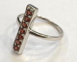 Garnet 925 Sterling silver ring #688