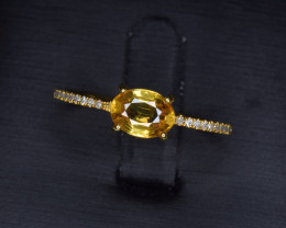 Natural Yellow Sapphire, Diamonds and Gold Ring