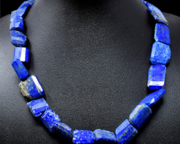 Blue Lapis Lazuli Faceted Beads 20 Inches Long Necklace