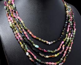 Watermelon Tourmaline Oval Shape Beads Necklace