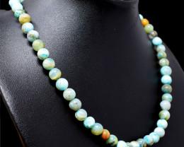 Blue Peruvian Opal Round Beads Necklace