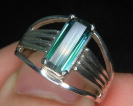 Wow Very Beautiful Hand Made Ring Of Blue & Green Tourmaline In 925 Sil