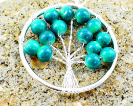 Green Onyx Tree Of Life Chakra Pendant