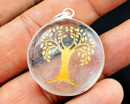 White Quartz Tree Of Life Chakra Pendant