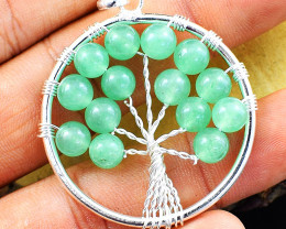 Green Aventurine Tree Of Life Chakra Pendant