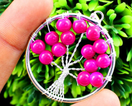 Pink Onyx Tree of Life Chakra Pendant