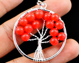 Orange Onyx Tree Of Life Chakra Pendant