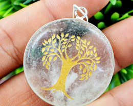 Tree Of Life White Quartz Chakra Pendant