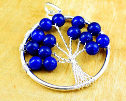 Blue Onyx Tree Of Life Chakra Pendant