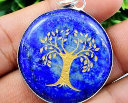 Blue Lapis Lazuli Tree Of Life Chakra Pendant
