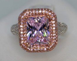 Pink Cubic Zirconium and Silver Ring Sparkles like Diamond
