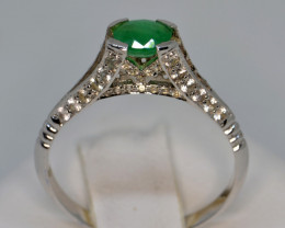Eiffel Tower Design Natural Emerald, Sapphire and Silver Ring