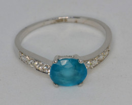 Natural Apatite, CZ and Silver Ring