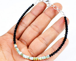 Black Spinel & Peruvian Opal Faceted Beads Bracelet