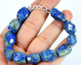 Blue Lapis Lazuli Faceted Beads Brace;et