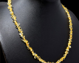 Yellow Citrine Beads Single Strand Necklace