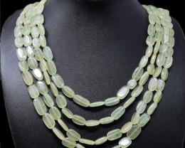 Green Aventurine Oval Shape Beads 4 Line Necklace