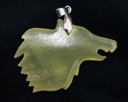 81 Ct Of Natural Wolf Shape Calcite Pendent